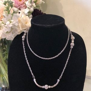 Vintage Silver Bead Layering Long Necklace